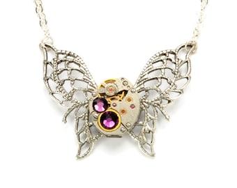 FEBRUARY Steampunk Necklace, AMETHYST PURPLE Steampunk Butterfly Necklace Silver Steam Punk Victorian Steampunk Jewelry VictorianCuriosities