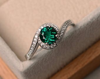 Lab emerald ring, anniversary ring, sterling silver ring, round cut ring, May birthstone ring, green gemstone ring
