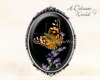 Painted Lady Butterfly Brooch - Silver Butterfly Jewelry Brooch, Butterfly Photo Jewelry Broach, Nature Photography Jewelry, Nature Brooch