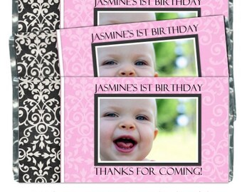 50 First Birthday Candy Wrappers - fit over 1.55 oz chocolate bars, Damask Birthday, 1st Birthday Party Favor, Chocolate Bar Wrappers