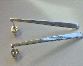 Long Slim Minimal Simple Minimalist Sterling Silver stud  Earrings