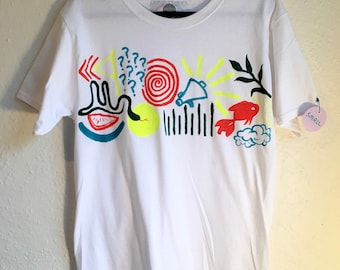 Painted White T-Shirt by Sam Pletcher 〰 Hand Painted One of a Kind Adult Small Shirt 〰 Orange, Neon Yellow, Spruce Green and Turquoise