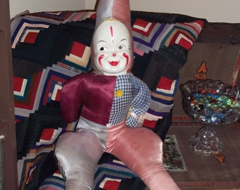 "XL Tall Clown Doll 50's 60's toy 33"" Halloween Decoration Creepy, Distressed Haunted, Large VTG Doll"
