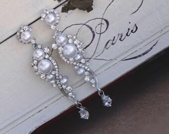 Pearl Bridal Earrings, Crystal and Pearl Dangle Earrings, Chandelier Earrings, Silver & Pearl Wedding Earrings, TILLY