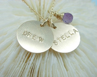 Gold Name Necklace - Handstamped Necklace - Handmade Jewelry