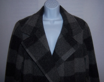 Vintage Paul Levy Irene Herbert's Grey Gray Black Buffalo Check Plaid Double Breasted Long Maxi Alpaca Coat Large 12 14