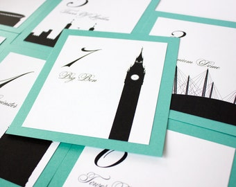 London Table Number Wedding Decor Icons Landmarks Silhouette City Reception Signage Choose font and color