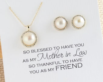 Mother of The Groom Gift, Mother of the Bride Gift, Halo Pearl Jewelry Set, Mother of The Groom Jewelry, Pearl Jewelry Set, S603G