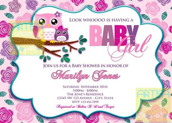 Pink Owl Baby Shower Invitation Owl Baby Girl Shower