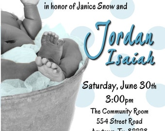 African American BABY FEET Baby Shower Invitations for a BOY