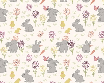 Easter Bunny Fabric, Lewis & Irene Bunny Garden LEI A148-1, Easter Quilt Fabric, Rabbit Fabric, Cotton