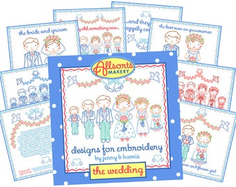 Wedding Party Embroidery Patterns - Instant Download