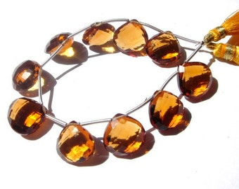 10 Pcs 5 Pair 14x14mm Finest Quality Beer Quartz Faceted Heart Briolettes