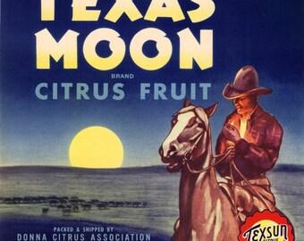 1940s Donna Texas Cowboy Smoking on Horse in Moonlight Texan Moon