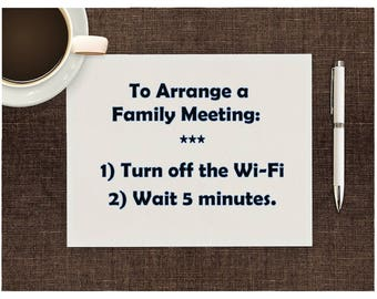 Funny Family print Family meeting download, Kitchen art WiFi saying quote, Home decor Wall art, Small printable, Print at home, Fun Kitsch