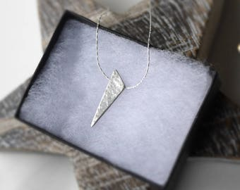 Hammered silver spike pendant necklace