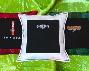 """Tequila Shots 3 Pillow Set - 14"""" x 14"""" Quilted Pillow Shams featuring Top Shelf Tequilas"""