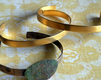 "1/4"" Brass Cuff Bracelet Blank... Brass 2 pieces  - Free Shipping US"
