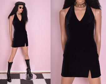 90s Black Velvet Halter Dress/ Small/ 1990s