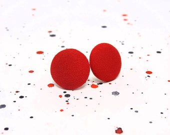 Red fabric stud earrings - Bright red stud earrings - Red fabric earrings - Red button earrings - Red post earrings - Free shipping