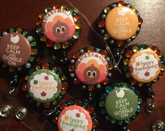 Thanksgiving retractable id Badge Holders