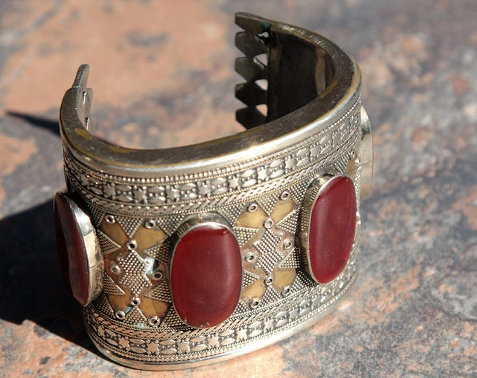 BRACELET (1pc) Turkoman Tribal Real CARNELIAN Gold Plated BellyDance 502a3
