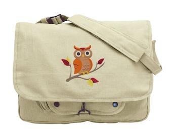 Autumn Enchantment Owl Embroidered Canvas Messenger Bag