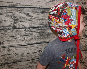 Avengers   Comic Book Baby Bonnet   Marvel   Hulk   Thor   Iron Man   Superhero   Baby Hat   Baby Shower Gift   Baby Gift   Baby Sun Hat
