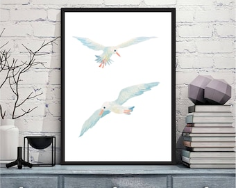 Printable wall art Digital Prints seagull navy