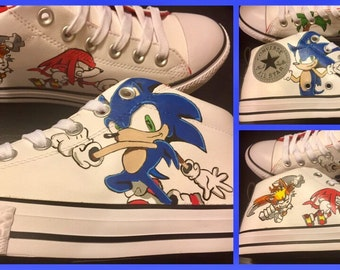 Hand Painted Sonic the Hedgehog shoes
