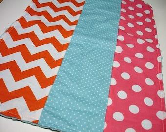 Orange Hot Pink and Aqua Chevron and Dots Baby Minky Burp Cloth 14 x 19 READY TO SHIP