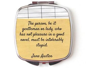 Jane Austen Compact Mirror - Jane Austen Gift - Jane Austen Quote Compact Mirror