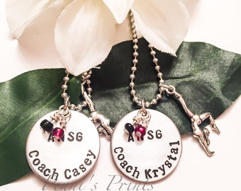 Hand stamped and personalized coach gift for gymnastics coach, gymnastics coach gift, gymnastics, gymnast