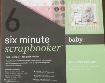 6 pg BABY Scrapbook kit for beginners. FAST, EASY from Autumn Leaves