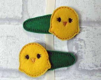 Felt Hair Clip Pair - Easter Chick, READY TO SHIP  kids hair accessories