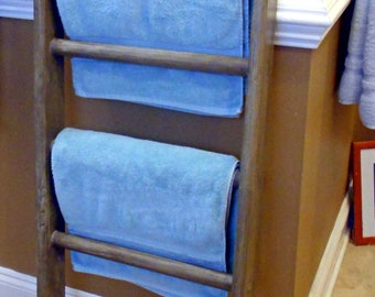 4ft Decorative Blanket Ladder, Driftwood stain Woodland Baby Quilt Ladder, Bathroom Towel Rack, Blanket Storage, Rustic Wood Shelf