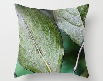 Green Leaves, Pillow Cover, 6 sizes, 4 fabrics, home decoration, Bush, macro photo, green, botanical decor, tropical leaves, interior design