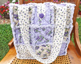 Purple Flowers Rag Quilt Tote - Floral Tote - Purple Tote - Purple Rag Tote - Flowers Rag Tote - Handbag - Gift for Her