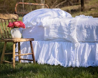 Ruffled Linens Bedskirt with 3 inch Ruffle on bottom