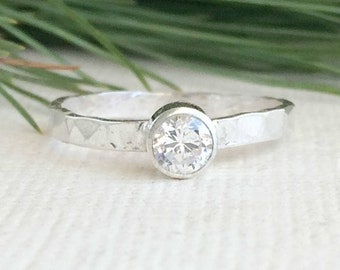 2mm Hammered Ring - Sterling Silver - Cubic Zirconia Hammered Ring - Customized Ring for Women - Simple Every day ring