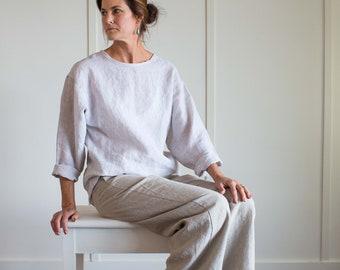 Nicole Linen Top, Long Sleeve Linen Blouse, Loose Fitting Linen, Linen Summer Top, Striped Linen Top, Womens Clothing