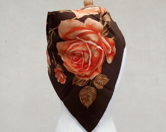 Vintage Summer Scarf - Orange and Brown Italian 70s - Ladies' Summer Neck Scarf