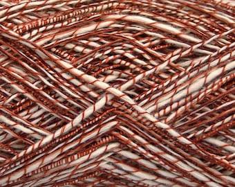 400 gr Cotton Yarn  Knitting Yarn Viscose Yarn Crochet  Sport Weight White and Copper Red Summer Yarn Bulk Lot