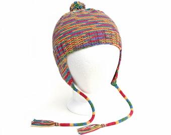 Child's Earflap Hat. Kids Warm Winter Variegated Multicolor Aviator Hat. Wool Free Knit Cap. Vegan Bomber Hat. 2 to 6 Years. Gender Neutral
