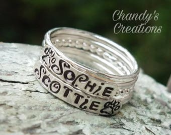 3mm Sterling Silver Stackable Name Rings, Paw Prints, Stackable Mother's Rings, Layered Rings, Stackable Rings, Name Rings Stackable, Dog
