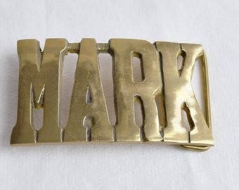 """Vintage Solid Brass """"MARK"""" Belt Buckle/Solid Brass Belt Buckle"""