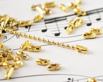 20 Ball Chain Clasps in Gold Color