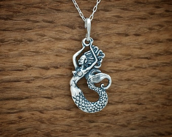 STERLING SILVER Mermaid, Siren of the Sea My ORIGINAL Pendant Necklace or Earrings- Chain Optional