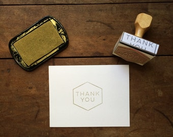 Thank You Cards DIY Kit - Mid Century Geometric Stamp, 10 cards and envelopes, and ink pad - Simple Handmade Thank You Card Stamp Kit DIY