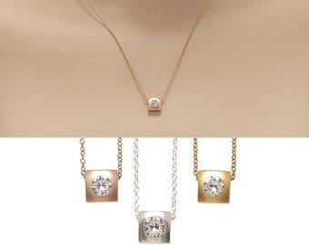 Tiny Square Necklace, Geometric Necklace, Crystal Necklace, Square Pendant Necklace, Gold filled Necklace